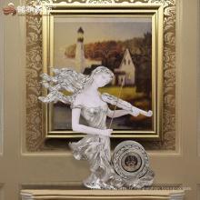 Accessoires décoratifs décoratifs ornés en résine, résine, beauté, musicien, statue, table, horloge