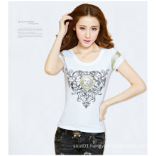 Knit Short-Sleeved Embroidery Women T-Shirt with Round Neckline