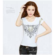 Knit t-shirt de manga curta bordado mulheres com decote redondo