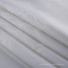 Tela blanca orgánica del telar jacquar del algodón para el hotel