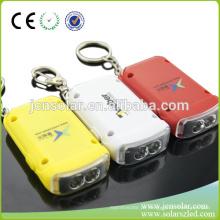 LED quente personalizado Keychain solar, nome de chaveiro alimentado por energia solar, lâmpada LED chave