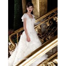 ZM16017 Prinecess Muster Drape White Organza Rüschen Hochzeitskleid Real Picture Kurzarm Plus Size Brautkleider
