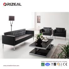Juego de sofá original de cuero negro copetudo Orizeal (OZ-OSF001)