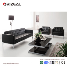 Orizeal Black Tufted Genuine Leather Office Sofa Set (OZ-OSF001)