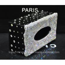 Handmade Crystal Rhinestone Diamond Paper Towel Holder Napkins Case Tissue Box (TB-008)
