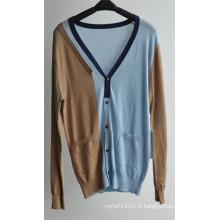 Cardigan tricoté à motifs masculin avec bouton et pochette