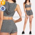 Hoodie Sports Bra & Drawstring Shorts Set Manufacture Wholesale Fashion Women Apparel (TA4023SS)