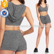 Hoodie Sports Bra & Shorts de Cordão Conjunto de Fabricação Atacado Moda Feminina Vestuário (TA4023SS)