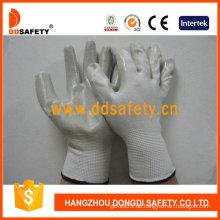 Weißes Nylon mit grauem Nitril-Handschuh-Dnn332