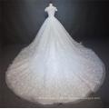 Luxo branco pesado frisado manga curta vestido de noiva vestido de noiva 2018 com cauda grande