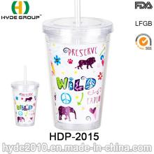 Vaso plástico de 16oz de doble pared con paja para promoción (HDP-2015)