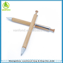 Customized logo cheap wood pen with metal trims