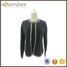 Classique femme laine Cachemire twin set chandails avec prix usine