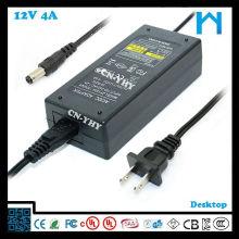 4Amp 12Volt Adaptador de corriente alterna con 5.5 * 2.1mm 2.5 * 5.5mm, etc Salida de salida Dc UL CUL aprobar