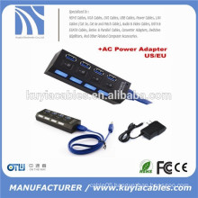 4 Ports USB 3.0 Hub with On/Off Switch + AC Power Adapter For Desktop Laptop