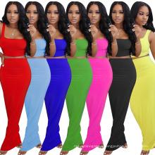 Hot Sale Summer Solid Color Basic Design Long Tight Sexy Fashion Vest Ladies Plus Size Dress Two-Piece Suit