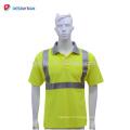 T-shirt réfléchissant de sécurité respirable de haute qualité adapté aux besoins du client 100% de chemises de travail de route de polyester de Viz de Salut EN471 poche jaune