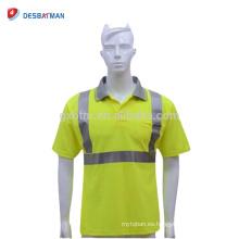 Camiseta reflectante de la seguridad respirable modificada para requisitos particulares de alto grado Camisas del trabajo del camino del poliéster de 100% ho Viz EN471 bolsillo amarillo