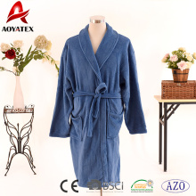 Ultra soft solid blue color solid coral fleece bathrobe with belt for men