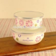 5 pc custom ice bowl & enamel bowl wholesale with PE lids