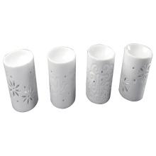 Quemador de incienso cilíndrico de cerámica esmaltada blanca para la decoración casera