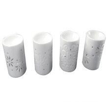 White Glazed Ceramic Cylindrical Incense Burner for Home Decoration