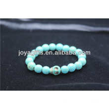 Turquoise 8MM Round Beads Stretch Gemstone Bracelet with Skull in the middle