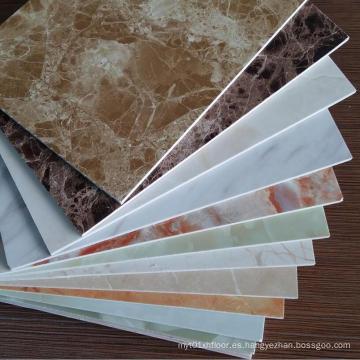 Panel de pared revestido del vinilo del PVC del color de mármol de 3m m