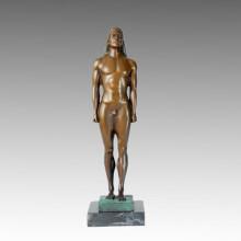Обнаженная статуя Мужской Курос Бронзовая скульптура TPE-368