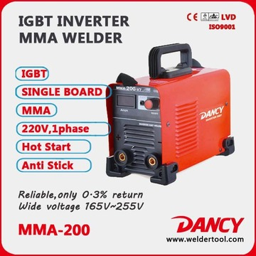 Mini hand-held IGBT Inverter DC Arc Welder MMA-200 welder machine