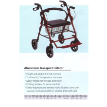 Aluminum Transport Rollator with Footrest