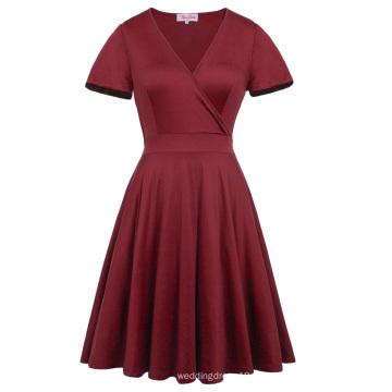 Hanna Nikole Dark Red Kurzarm V-Ausschnitt Plus Size Brautjungfern Swing Sommerkleid HN0017-1