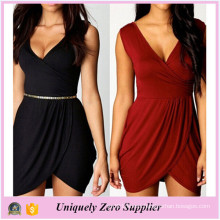 Enough Stock New Style Plus Size Solid Color Elegant V-Neck Dress