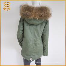 Parka real barata de encargo de la piel del mapache de las mujeres del Fox del Faux del nuevo estilo