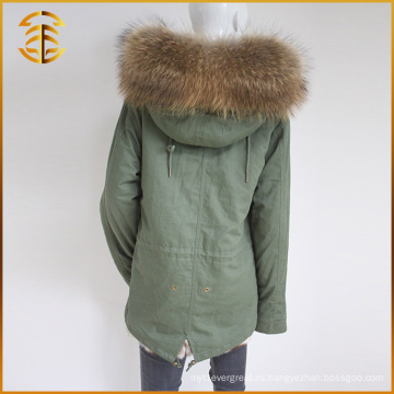 Новый стиль Пользовательские дешевые реальные Faux Fox Женщины Raccoon Fur Parka
