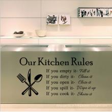 Nossa cozinha regras carta removível óleo prova cozinha parede adesivo