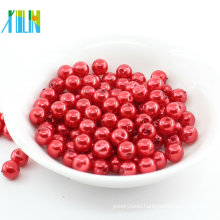 Factory Direct Sale Hole Round Red Beads Plastic Pearl For Nail Art