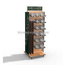 Robusto móvil piso de metal de madera slatwall cinturón colgante de múltiples capas sombrero y tapa pantalla