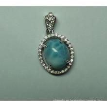 Natural de Larimar de Sterling plata moda joyería colgante (P0260)