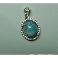 Natural Larimar Sterling prata moda joias pingente (P0260)