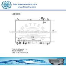 Radiador De Aluminio Para TOYOTA HIGHLANDER 04 1640020340 Fabricante y Venta Directa
