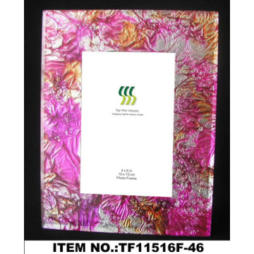 Round Gold Foil Paper Glass Photo Frame