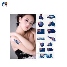 Etiqueta engomada del tatuaje del cuerpo de la bandera nacional. Etiqueta engomada del festival de la celebración para el ser humano