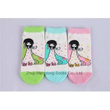 Cute Cartoon Girl meias de algodão Little Girl Meias popular para a venda por atacado