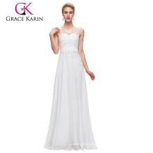 Grace Karin sin mangas V-Back Blanco Gasa más vestido de baile de tamaño para las mujeres gordas CL007555-4