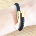 Braided Genuine Leather Magnetic Clasp Nail Bracelet