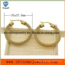 Pendiente de la manera del oro de la galjanoplastia del vacío de la joyería de Shineme (ERS6964)