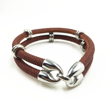 Handmade Ring Charm Luxury Staingray Leather Bracelet