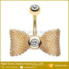 Großhandel Gold Plated Bow - Krawatte Strass 316L Chirurgenstahl Bauchnabel Ringe