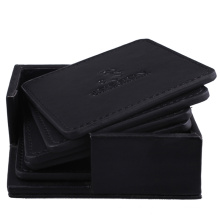 Waterproof PU Leather Black Square Tea Cup Coaster